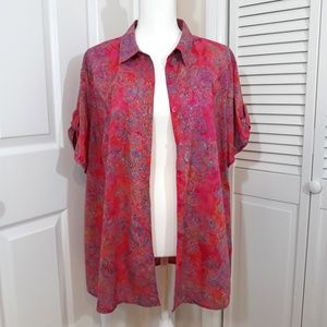 Dress Barn 2X Pink & Red Floral Button Down Blouse